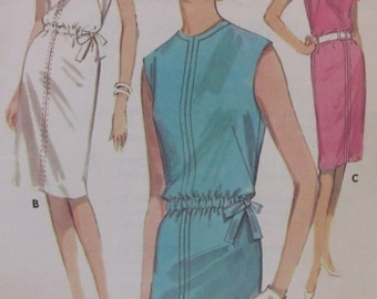 Vintage 1960s  Butterick  Quick N Easy Summer Shift Dress Sewing Pattern #2694  Size 16