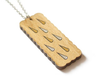 Wood collar necklace, wooden pendant, gold silver color rain drop pattern, geometric, minimal graphic and fairy style, made in France Paris