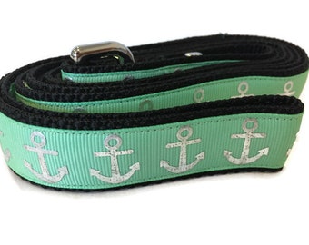 Dog Leash, Sea Green Foil Anchors, 1 inch wide, 1 foot, 4 foot, or 6 foot
