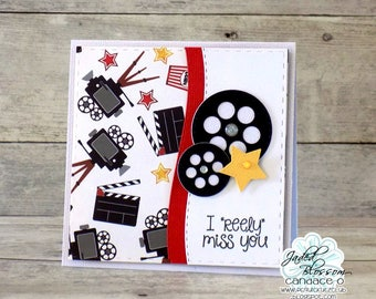 """I """"reely"""" miss you movie reel card"""