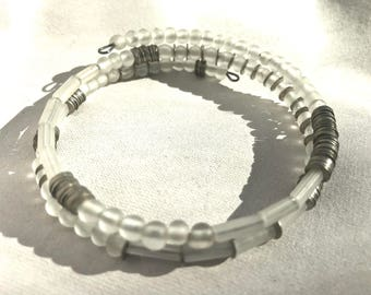 Clear Glass and Stacked Sequin Wrap Bracelet