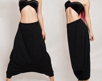 Estiramiento harén pantalones Oversize negro Hippie, pantalón holgado, cómodo bajo pantalones entrepierna Plus tamaño flojo pantalones japoneses.