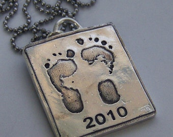 Your Child's or Baby's Actual Foot Footprints or Handprints Made Into Silver Jewelry -Made to Order Love