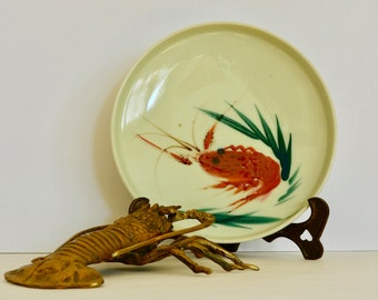 Vintage Japanese Hand-painted Crayfish Dish- Decorative Lobster Plate