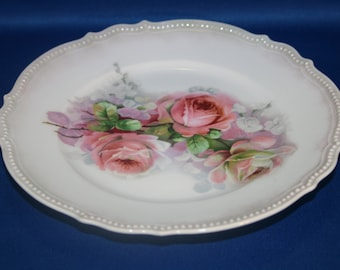 Antique Beautiful Early German P.K. Silesia Cabinet Plate Pink Roses Salad Plate Dessert Plate Dinner Plate & Sale Vintage Dessert Salad Bread and Butter Plate Pink Roses