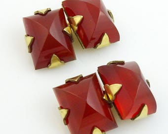 Vintage Cufflinks Red Carnelian Stone Double-Sided