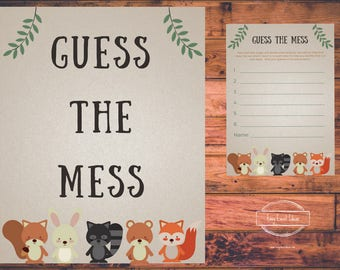 Printable Woodland Creatures Baby Shower Guess the Mess Instant Download