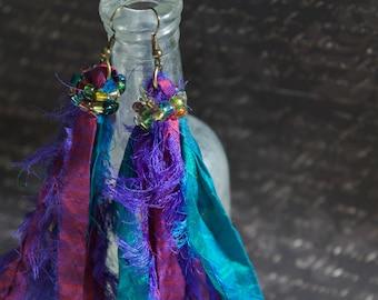 Shoulder Duster Sari Silk Earrings, Boho Chic Jewelry, Wild Earrings, Hippie Style
