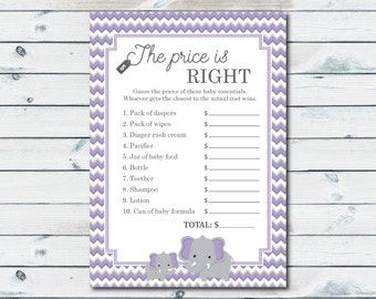 Elephant Baby Shower Price Is Right Game, Purple And Gray Chevron Elephant Printable Price Is Right, Elephant Baby Shower, Gender Neutral