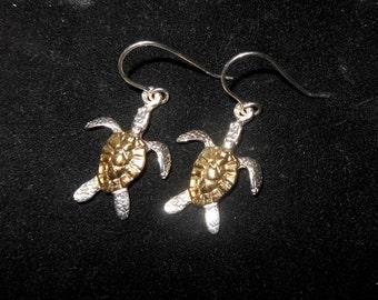 Ster Silver W/Gold Plat. Turtle Earrings