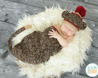 Classic Sock Monkey Hat and Cocoon with Tail for Newborn Babies READY to SHIP Handmade Photo Prop
