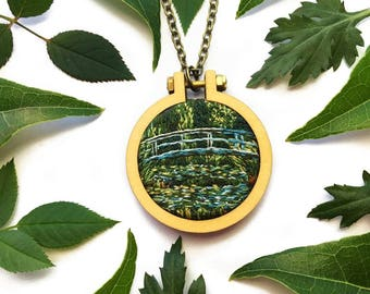Water Lily Pond with Japanese Bridge//Monet Miniature Hand Embroidery// Pendant Necklace