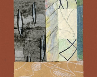 """One Piece of the Puzzle - Collage with Hand Painted Papers 4.25 x 5.5"""" on 5.75 x 8"""" Terra Cotta Backing"""