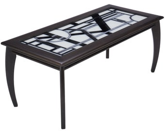 Art Deco Glass Top Black Coffee Table