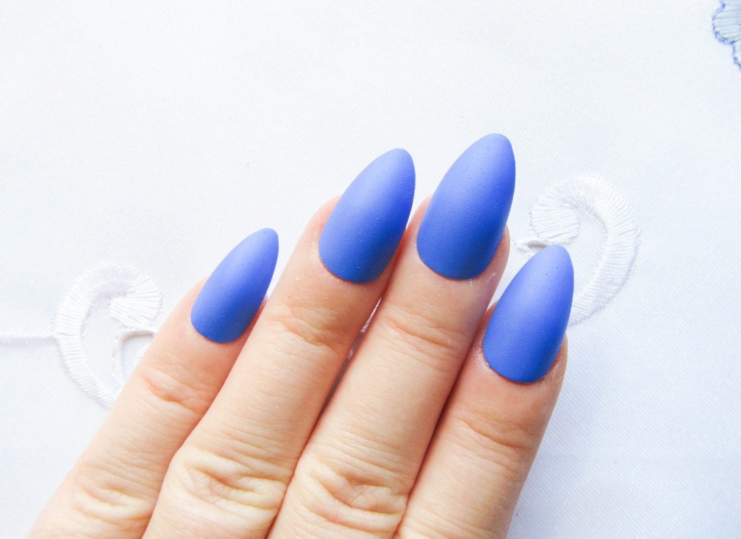 Matte Blue Nails / Fake Nails / Stiletto Nails / Press on
