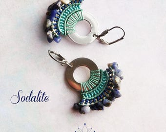 "Earrings ""Sodalite"" - water lily fine macrame jewelry"