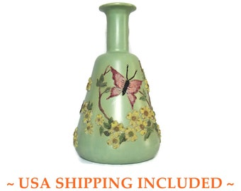 Barbotine Art Pottery Bottle Vase With Butterflies and Flowers