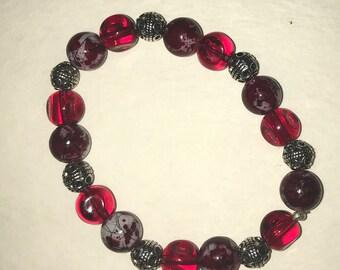 Dark Red and silver Splash bead stretch bracelet