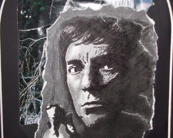 Barnabas Collins Drawing. Barnabas in the woods. Vampire art. Dark Shadows. Ink drawing and collage.