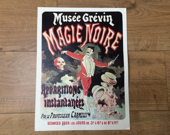 Vintage Reprint of a 19th Century French Theatre Poster - Prof. Carmelli, Musee Grevin 'Magie Noire'