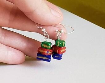 Books dangle earrings.Library books earrings.English teacher earrings.Stack of books earrings.Teacher earrings.Book lover gift.Sensitive ear