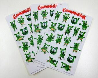 Gummibär (The Gummy Bear) Sticker Sheets ~ 3 Sheets ~ 60 Stickers ~ Cute Kawaii Character ~ Planner Stickers