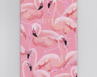 A6 Mini Notebook - Pink Flamingos - Decorated with a fun flamingo pattern