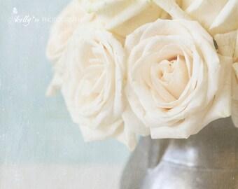 White Rose Photo- Floral Still Life, Rose Photography, White Blue Decor, Floral Wall Art, Farmhouse Decor, Cottage Decor, Feminine Decor