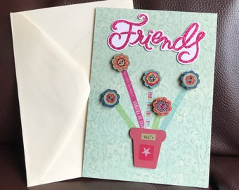 Friends, Greeting Card, Friendship Quote Inside, Green, Button Flowers