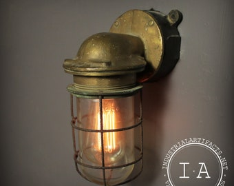 Vintage Industrial Nautical Brass Explosion Proof Wall Sconce Lamp