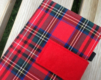 New Red Plaid Journal Cover - Red Tartan Handmade A4 or A5 or A6 Notebook Cover - Red Check Handmade 2018 Diary Cover