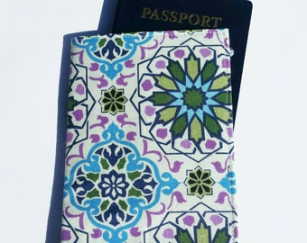 FREE SHIPPING UPGRADE with minimum -  Passport case / passport holder / passport cover : Stained-glass Purple Aqua Green