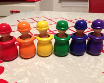 12 Piece Waldorf Toy Wooden Rainbow Peg Dolls and Cups - Montessori Learning Toy
