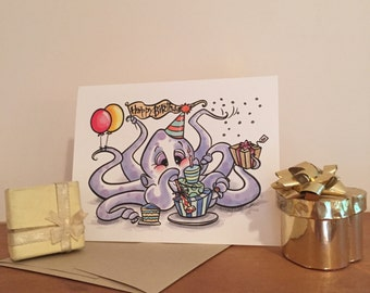 Octopus Birthday Blank Greeting Card