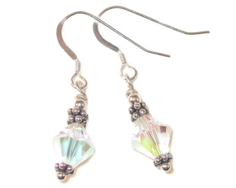 CLEAR AB Crystal Earrings Bali Sterling Silver APRIL Birthstone Swarovski Elements - Clip-on & Pierced