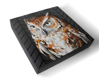 Screech Owl painting - woodland owl art - realistic wildlife painting - traditional art - nature gift - owl collector gift - screech owl art