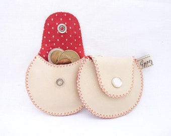 Coin Purse / The Mini Gypsy Vintage / Beige Leather and Vintage Lining Red and White Polka Dots / Ready to Ship