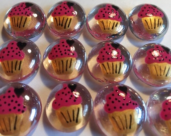 Cupcakes cupcake  birthday party favors decorations  hand painted glass gems pink and black and gold