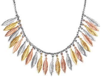 42cm 3 Tone Multi Small Feathers Sterling Silver Necklace