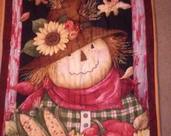FALL SCARECROW Hand Quilted Wall Hanging