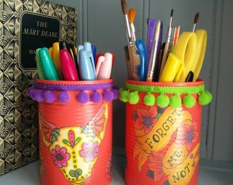Tattoo Style Pom Pom Trim decoupage pen pots *STOCK CLEARANCE* 10.5cm tall. Set of 2