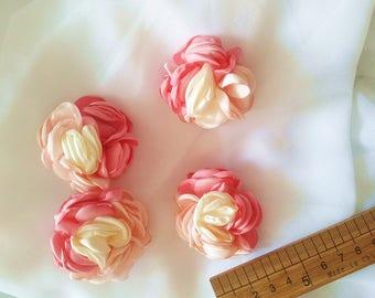 pink rose flower, vintage rosette flowers appliques, pink rose flowers one piece