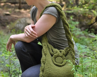 Designer cable texture hand knit shoulder bag hobo crossbody messenger school bag - Soul of a Vagabond - olive green or CHOOSE YOUR COLOR