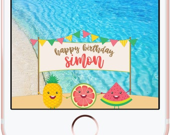 Beach Birthday Fruits Pineapple Watermelon Snapchat Filter