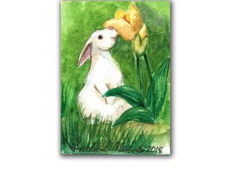 Bunny Rabbit Tulip Spring Mom Nursery New Baby Art  LLMartin Original ACEO  Watercolor Free Shipping USA