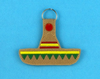 Sombrero Mexican Hat Keychain Fob Accessory, Cinco De Mayo, Gifts under 10, white elephant gift, christmas gift, stocking stuffer