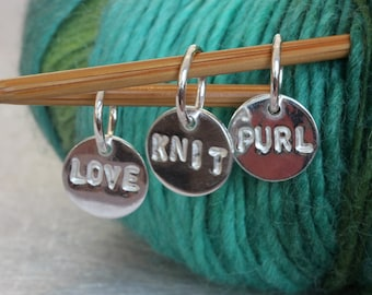 Personalised disc knitting stitch markers | set of 6 | gift for knitters | sterling silver custom knitting charms