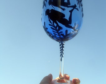 Hand painted scuba diver wine glass
