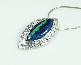 Azurite stone pendant set in fine silver, blue, turquoise, gift