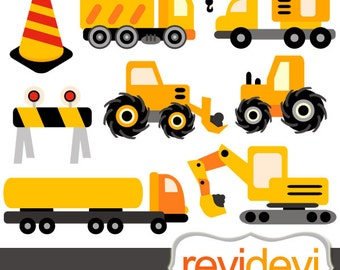 Construction trucks clipart sale, yellow black - Digital clipart, Under Construction - Commercial use clip art download